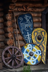 Old traditional painted viking wooden shields