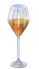 White wine glass. Sketch watercolor illustration