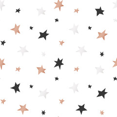 White Christmas and New Year's wrapping paper with stars of gold and bronze foil. Seamless vector pattern.