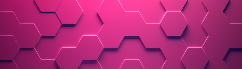 Pink Wide Hexagon Background (Site head) (3d illustration)