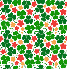 vector pattern with clovers, trefoils. St. Patrick's day texture. Decorative floral background with flowers