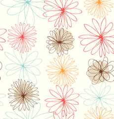 Cute decorative drawn background with round fantasy flowers