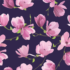 Seamless pattern magnolia flowers on dark purple background. Vector set of blooming floral for wedding invitations and greeting card design.