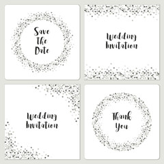 Set of luxury wedding card templates with silver glitter confetti