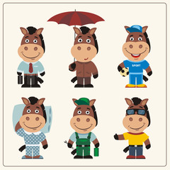 Set funny Horse in different clothing: sportsman, worker, manager, summer, autumn, sleepwear. Collection isolated Horse in clothing in cartoon style.