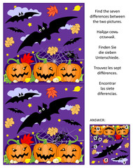 Halloween themed visual puzzle: Find the seven differences between the two pictures of flying bats, pumpkin field, spider. Answer included.