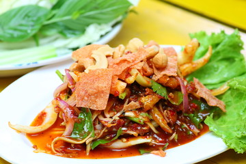 spicy mix salad thai style,thai food.