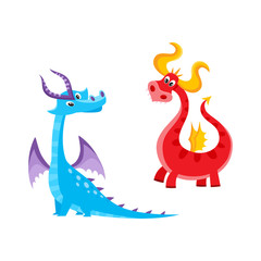 vector flat cartoon funny blue, marine and red fire adult, mature dragons with horns and wings. Isolated illustration on a white background. Fairy mysterious cute creature character for your design