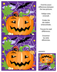 Halloween themed visual puzzle: Find the seven differences between the two pictures of pumpkin, bats and spider. Answer included.