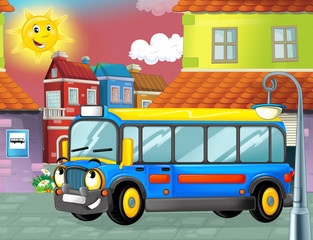 cartoon funny looking bus parking near the garage - illustration for children