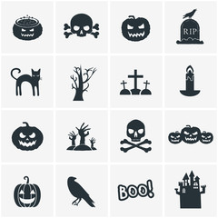 Collection of Halloween icons. Vector illustration
