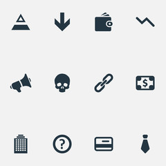 Vector Illustration Set Of Simple Crisis Icons. Elements Recession, Down Cursor, Link And Other Synonyms Plastic, Chain And Greenback.