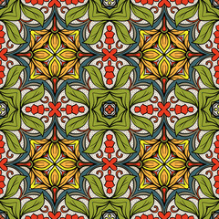 Garden Poster Moroccan Tiles Seamless pattern, background with geometric and floral abstract patt
