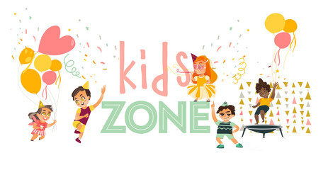 vector flat kids zone ,at party set. Funny girls in hat whistling, dancing , running with balloon, boys jumping at trampoline, and dancing . Isolated illustration on white background