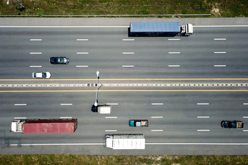 Aerial view of highway in Thailand.