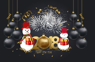 vector illustration of new year 2018 background with christmas confetti gold and snowman