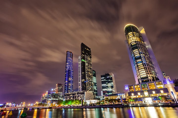 A view across the Yarra river at the landmark of Melbourne downtown during the city's nightly fireshow..