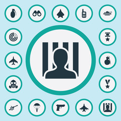 Vector Illustration Set Of Simple Battle Icons. Elements Walkie-Talkie, Gas Mask, Aircraft And Other Synonyms Ratio, Prisoner And Sharpshooter.