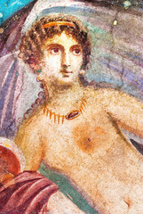 Ancient painted wall fresco of Venus at the ancient Roman city of Pompeii