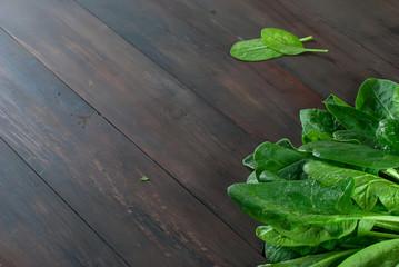 branch spinach  on dark wooden background