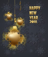 Luxury Elegant Merry Christmas and happy new year 2018 poster. Gold christmas balls