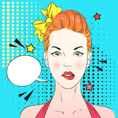 Pop art surprised woman face think about something. Comic woman with speech bubble. Vector illustration.