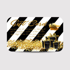 card template with glitter and present boxes