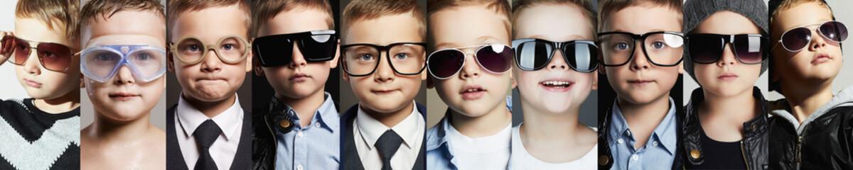 children in glasses and sunglasses collage