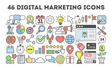 46 digital marketing icons.