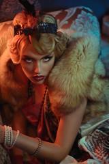 Retro portrait of a beautiful Gatsby woman. Vogue fashion style and smoke