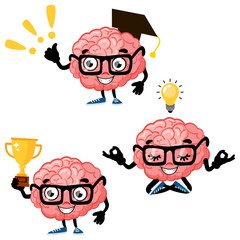 Set of cute cartoon smart brains. Cartoon characters mascot of the brain with glasses, brain with gold cup and brain meditating in yoga pose.Vector illustration isolated on background