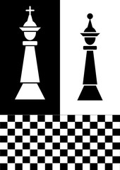 Chess flyer in black and white design, white chess king on black background, black chess queen on white background, chessboard. Graphic template for the chess club