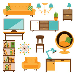 Home and office furniture interiors flat icons set. Home or office sofa, wardrobe, table, chair. Vector illustration isolated on white background