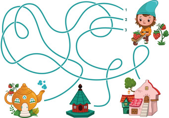 Can you help the gnome for find his teapot house? (Vector illustration)