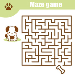 Maze game: animals theme. Kids activity sheet