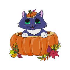 kitten in a pumpkin childlike halloween illustration