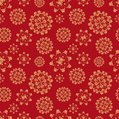 Christmas seamless pattern with golden snowflakes on red background. vector illustration.
