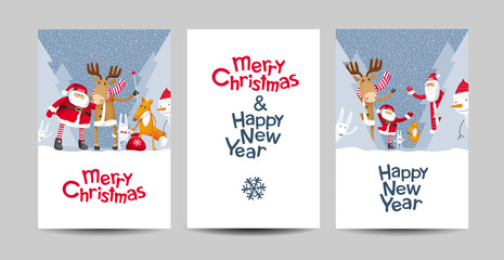 Merry Christmas vector lettering design template set