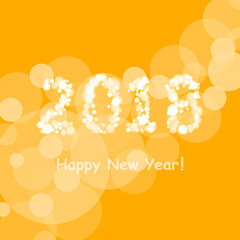 happy new year 2018 in bokeh and lens flare pattern on summer orange background