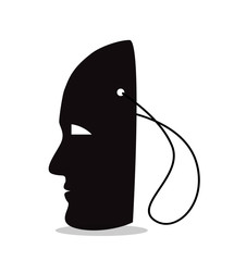 black silhouette of man mask on ropes