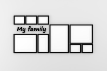 Blank picture frame templates hanging on the living room wall, 3D render