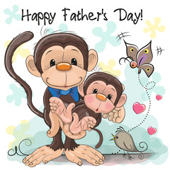 Greeting card Two monkeys a father and a baby