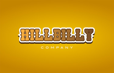 hillbilly hill billy western style word text logo design icon company