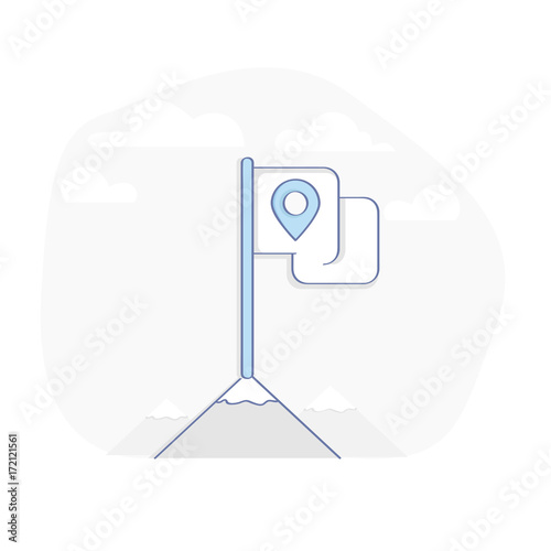 Pin Map On Flag Mountain Top Check In Symbol Stock Image And