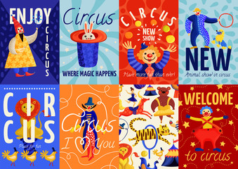 Circus Posters And Banners Set
