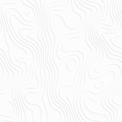 Abstract white topographic map. Seamless pattern.