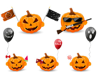 Set pumpkin on white background. The main symbol of the Happy Halloween holiday. Orange pumpkins with air balloon, gun, bank card, ice cream, candy and flag. Design for the holiday Halloween.