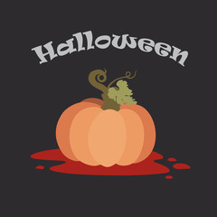 Halloween Postcard. Orange pumpkin flat vector illustration with blood on bottom. Isolated on black.