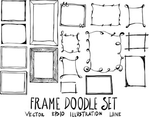 Set of Frame doodle illustration Hand drawn Sketch line vector eps10
