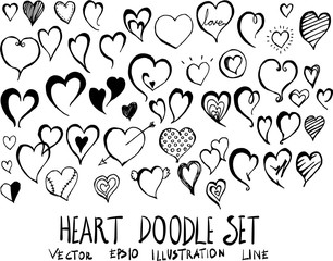 Set of Heart doodle illustration Hand drawn Sketch line vector eps10